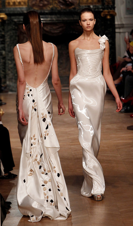 . A model wears a creation for Tony Ward\'s Spring-Summer 2014 Haute Couture fashion collection presented in Paris, Monday, Jan.20, 2014. (AP Photo/Thibault Camus)