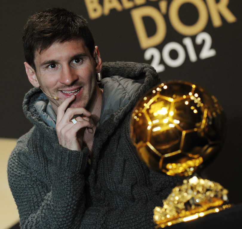 . Argentina\'s Lionel Messi, one of the nominees for the FIFA Men\'s World Soccer  Player of the Year Award,attends a press conference during the FIFA Ballon d\'Or Gala 2013 held at the Kongresshaus in Zurich, Switzerland, on Monday, Jan. 7, 2013. (AP Photo/Keystone/Steffen Schmidt)
