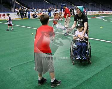 4/12/2015 - Rochester Knighthawks youth clinic & Breaking Barriers shootaround - Blue Cross Arena, Rochester, NY