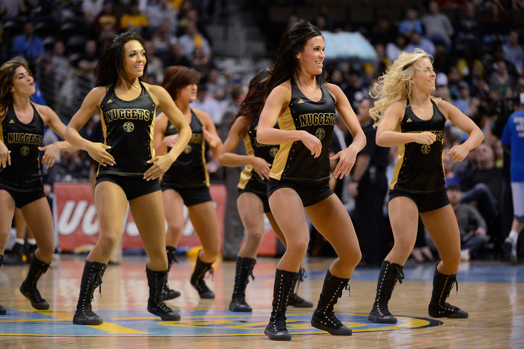 . DENVER, CO. - JANUARY 28: Denver Nuggets dance team performs during a time out January 28, 2013 at Pepsi Center. The Denver Nuggets host  the Indiana Pacers in NBA Action. (Photo By John Leyba / The Denver Post)