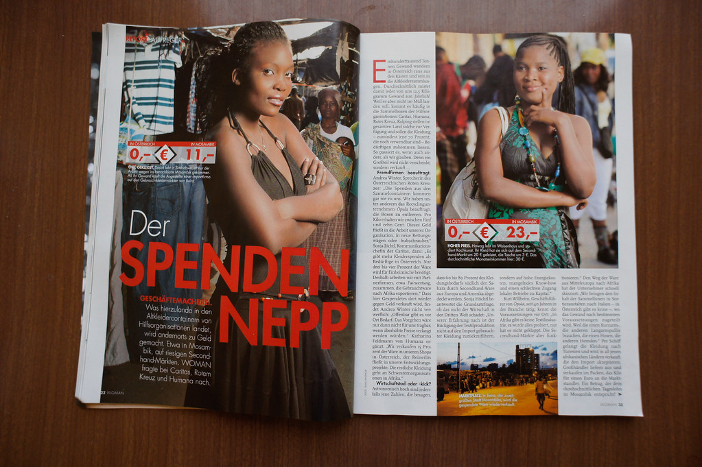 """2013-06: The Austrian Magazine """"Woman"""" publishes Second Hand Glam"""