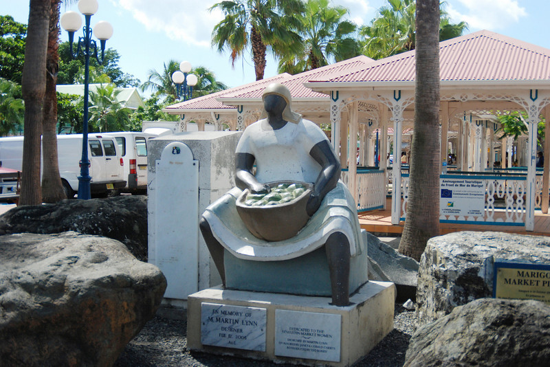 Statue in the open air market in the French side of St. Maarten
