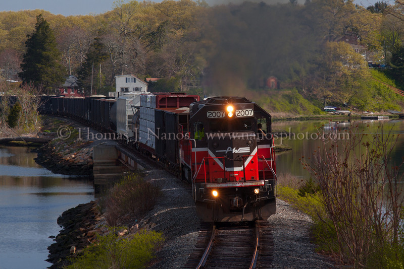 NR-2 in Two Towns Providence & Worcester train NR-2 enters Ledyard, CT after crossing over the inlet to Poquetanuck Cove.