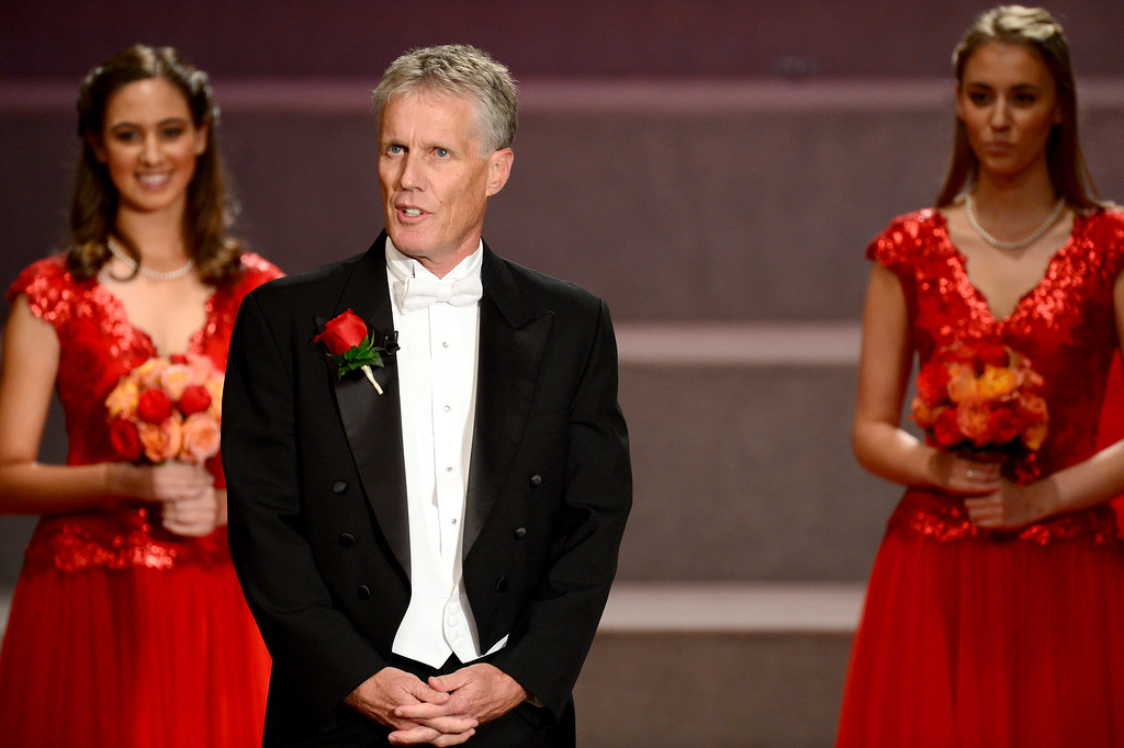 . Tournament of Roses President Scott Jenkins speaks during the Tournament of Roses\' coronation ceremony Thursday night, October 24, 2013 at the First Church of the Nazarene of Pasadena. (Photo by Sarah Reingewirtz/Pasadena Star-News)