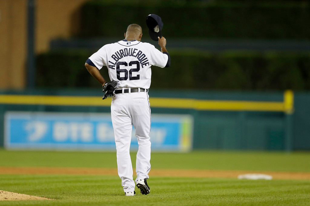 . Detroit Tigers relief pitcher Al Alburquerque reacts after giving up a three-run home run to Cleveland Indians\' Jason Kipnis in the seventh inning of a baseball game in Detroit, Friday, July 18, 2014. (AP Photo/Carlos Osorio)