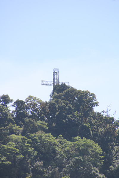 Aerial view of the Cruz de Alajuelita and Pico Blanco in Escazu, Costa Rica
