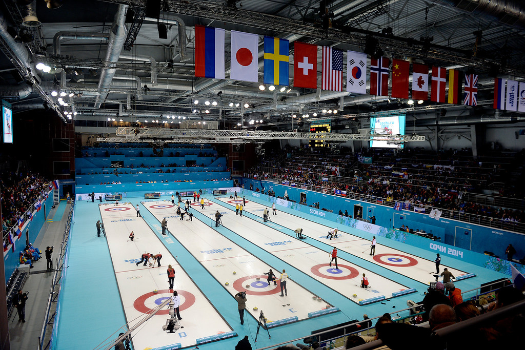 . Teams compete during a women\'s curling qualifier at the Ice Cube Curling Center. Sochi 2014 Winter Olympics on Wednesday, February 12, 2014. (Photo by AAron Ontiveroz/The Denver Post)