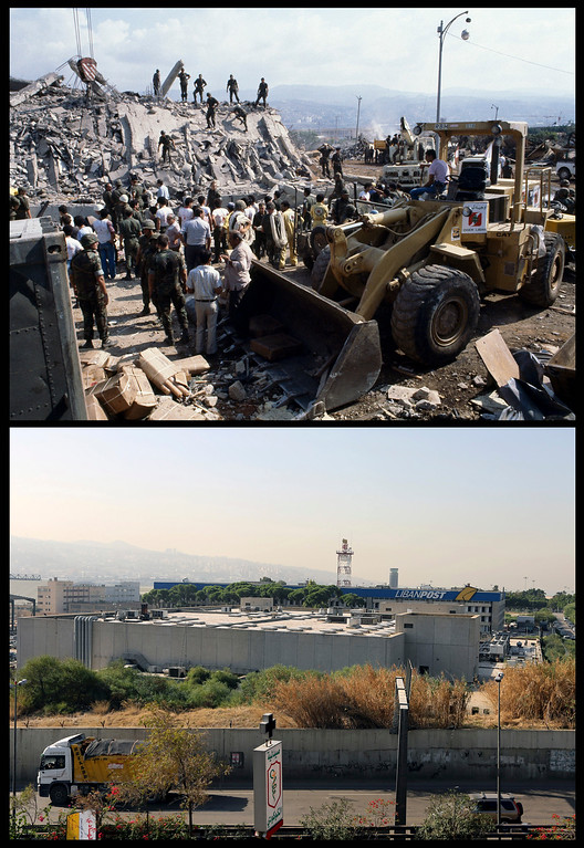 . This combination of two photographs shows the aftermath of a suicide truck bomb attack on the U.S. Marine barracks in Beirut, Lebanon on Sunday, Oct. 23, 1983, top, and the site of the blast as seen 30 years later on Wednesday, Oct. 23, 2013. (AP Photo/Mark Foley, Bilal Hussein)