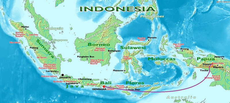 We approached Indonesian province of Papua by plain. 3 hours flight (Garuda – Boeing 737) from Denpasar (Bali) to Timika (Papua). 11 of us joined our 3 members flying from Jakarta. With small plain we flew in 50 minutes from Timika to Sugapa village.