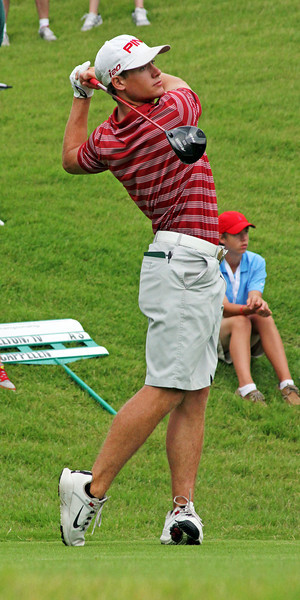 Taylor Moore of Edmond, OK hits his first tee shot during the match play portion of the 111th Western Amateur at The Alotian Club in Roland, AR. (WGA Photo/Ian Yelton)