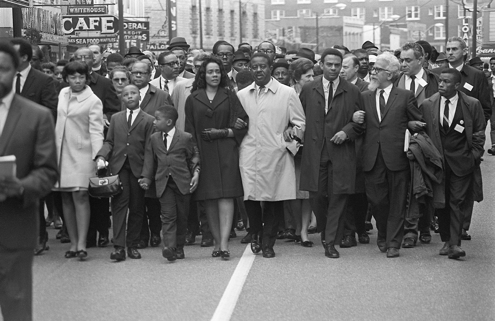 ". Coretta Scott King (5th-R) leads a ""March on Memphis\"" 09 April 1968, five days after the assassination of her husband, US clergyman and civil rights leader Martin Luther King. On her right, her daughter, Yolanda, walks with her sons Martin and Dexter; on her left appear King\'s successor, the Rev. Ralph Abernathy, and Andrew Young, later US President Jimmy Carter\'s ambassador to the United Nations and mayor of Atlanta. Martin Luther King was assassinated 04 April 1968 in Memphis, Tennessee. James Earl Ray confessed to shooting King and was sentenced to 99 years in prison. King\'s killing, three years after the assassination of black civil rights leader Malcolm X and months before Sen. Robert Kennedy\'s, sent shock waves through American society. (Photo credit should read -/AFP/Getty Images)"