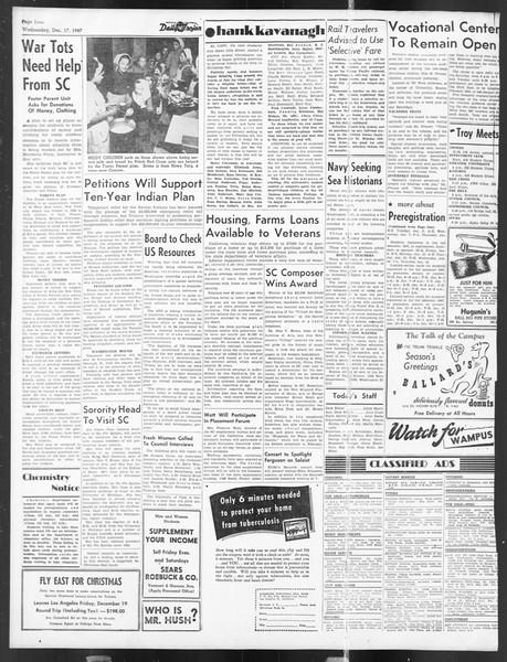 Daily Trojan, Vol. 39, No. 65, December 17, 1947