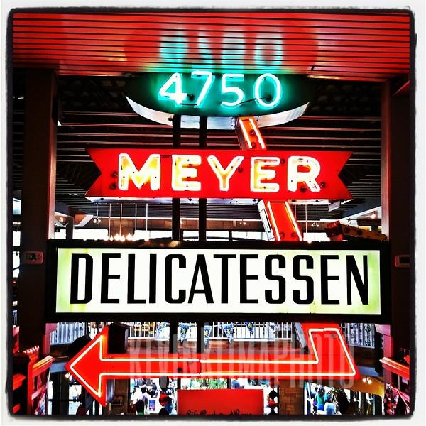 Meyer Delicatessen Sign inside Gene's Sausage Shop