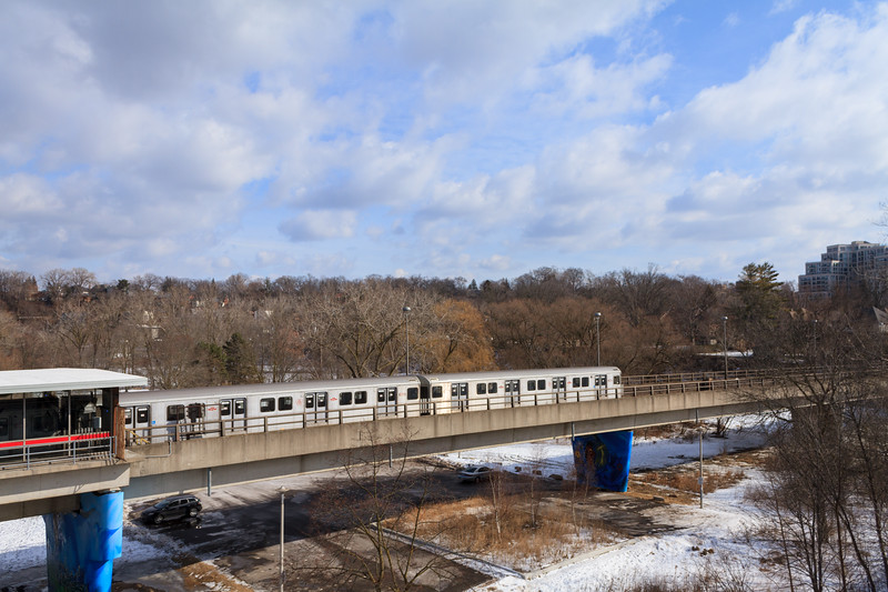 Subway Train Leaving Old Mill
