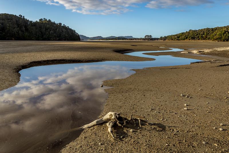 Ebbe an der Bucht von Whanganui