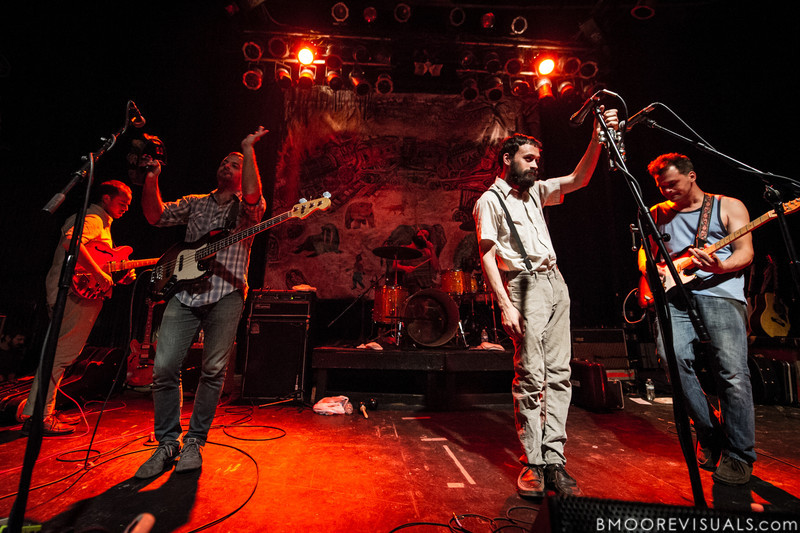 Brandon Beaver, Greg Jehanian, Rickie Mazzotta, Aaron Weiss, and Michael Weiss of mewithoutYou perform on August 8, 2012 in support of Ten Stories at State Theatre in St. Petersburg, Florida