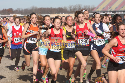 Girl's D2 at 800M, Mid-Race and Finish - 2011 MHSAA LP XC Finals