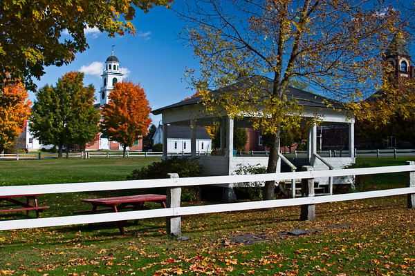 Bandstand on a New England Town Green in Autumn