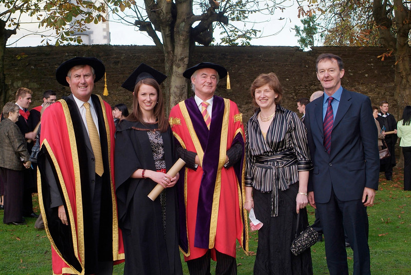 Claire Crudden, Newbridge, Co. Kildare was conferred with BSc (Hons) in Architectral Technology, at the conferring of academic awards in Waterford Institute of Technology. Claire is pictured with from left: Redmond O'Dongohue, Chiarman,WIT; Prof. Kieran R. Byrne, Director and Theresa and James Crudden.