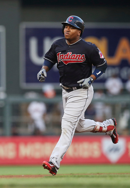 . Cleveland Indians\' Jose Ramirez runs the bases on a solo home run off Minnesota Twins pitcher Jake Odorizzi during the fourth inning of a baseball game Thursday, May 31, 2018, in Minneapolis. (AP Photo/Jim Mone)