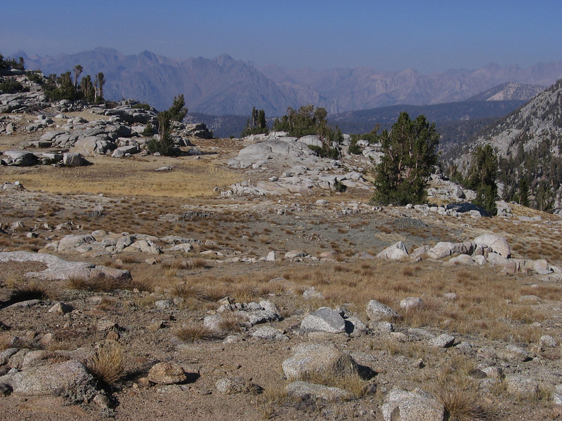 Looking north from Granite Pass, elevation 10,673, into the drainage of the Middle Fork of the Kings River. The distant views were obscured due to smoke from the west and south.