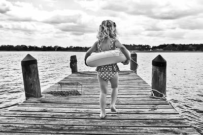 drawing girl on dock