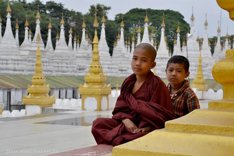Young monks at Sanda Muni Pagoda, Mandalay, Myanmar