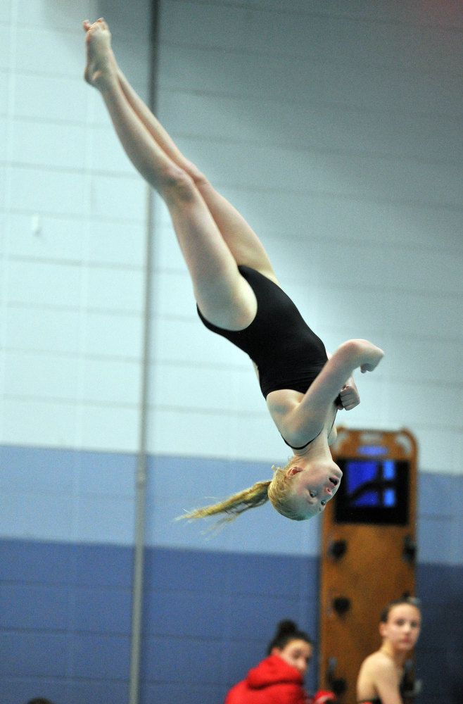 . FORT COLLINS, CO. - FEBRUARY 09: Hailey Nelson of Fossil Ridge High School dives during the 5A State Championship final on February 9, 2013 at Edora Pool Ice Center in Fort Collins, Colorado. (Photo By Hyoung Chang/The Denver Post)