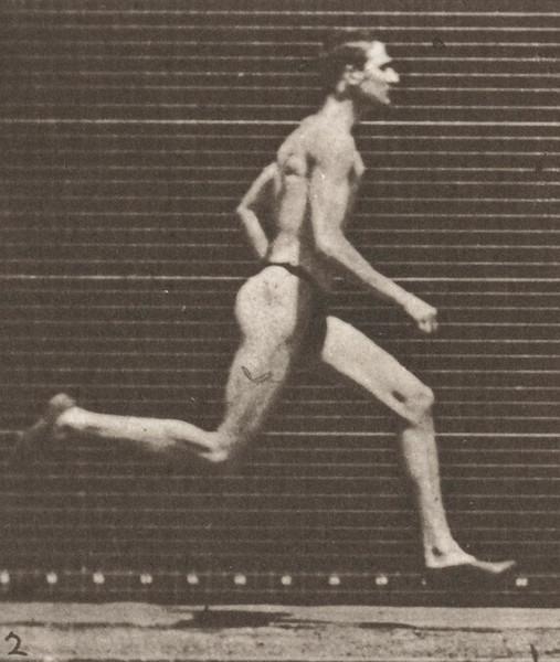 Man in pelvis cloth running at a half-mile gait
