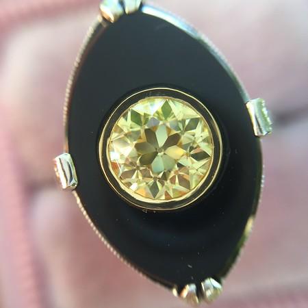 .81ct Fancy Yellow Old European Cut Diamond, Onyx Surround Setting