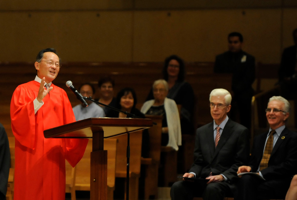 . California Supreme Court Justice Ming W. Chin, left, speaks, as former California Governor Gray Davis, second from right, and California State Assembly member Paul Krekorian, right, look on during the 32nd Annual Red Mass at the Cathedral of Our Lady of the Angels in Los Angeles, Calif., Tuesday, Oct. 21, 2014. 