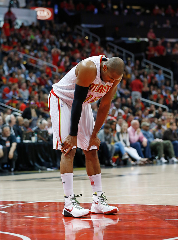 . Atlanta Hawks center Al Horford (15) pauses in the second half of Game 3 of the second-round NBA basketball playoff series against the Cleveland Cavaliers, Friday, May 6, 2016, in Atlanta. Cleveland won 121-108 and leads the best-of-seven series 3-0. (AP Photo/John Bazemore)