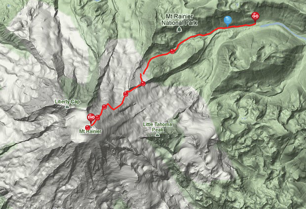 Our route tracked by GPS from White River Campground to the top