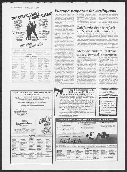 Daily Trojan, Vol. 98, No. 63, April 19, 1985