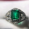 1.29ctw Emerald and Diamond Modified Halo Ring 7