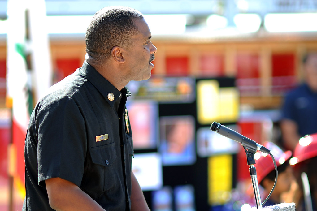. Los Angeles County Fire Chief Daryl L. Osby speaks during an LAFD news conference regarding the use of fireworks as the 4th of July holiday approaches.  Fire and law enforcement officials are encouraging families to attend a professional fireworks show to reduce fires and injuries.(Andy Holzman/Los Angeles Daily News)