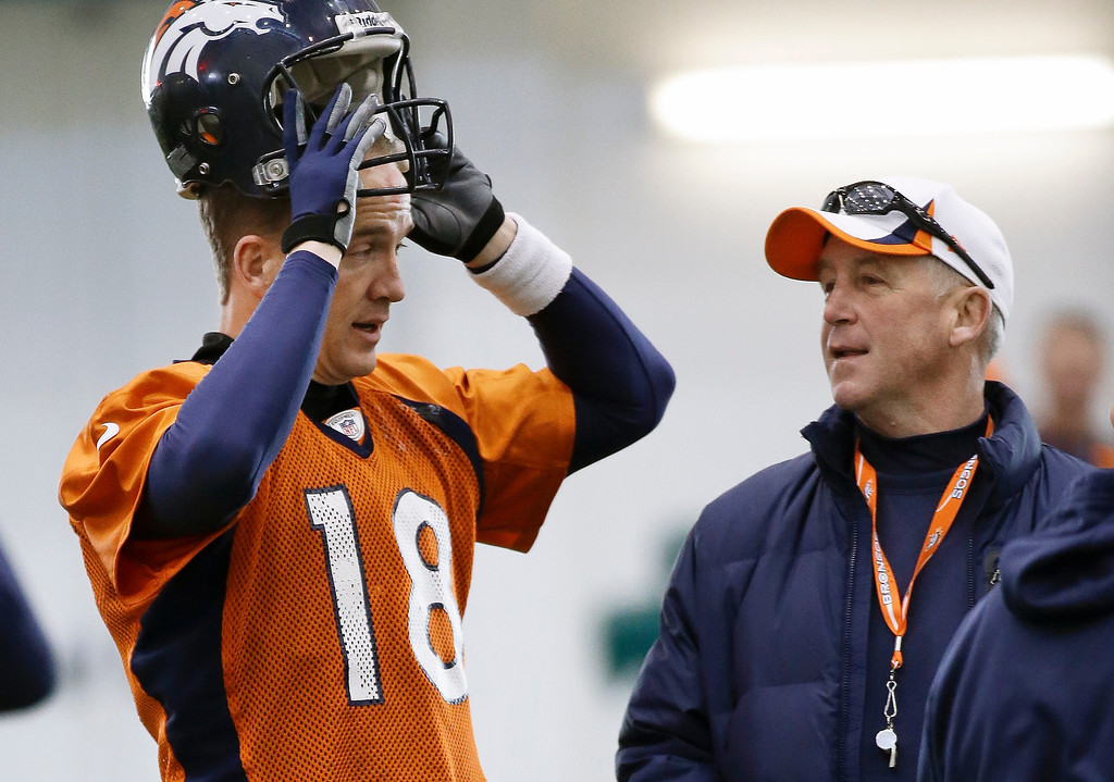. Denver Broncos quarterback Peyton Manning (18) talks with head coach John Fox during practice Thursday, Jan. 30, 2014, in Florham Park, N.J. The Broncos are scheduled to play the Seattle Seahawks in the NFL Super Bowl XLVIII football game Sunday, Feb. 2, in East Rutherford, N.J. (AP Photo)
