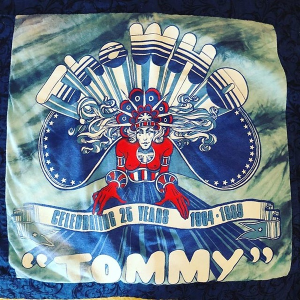 Years ago, @windycitymomma turned this concert T-shirt into a panel on a blanket (along with Bulls championship ones, college favs, etc.) We are super excited to head to @raviniafestival with @kongtiki1219 @cinder1219 tonite to catch Roger Daltry play it