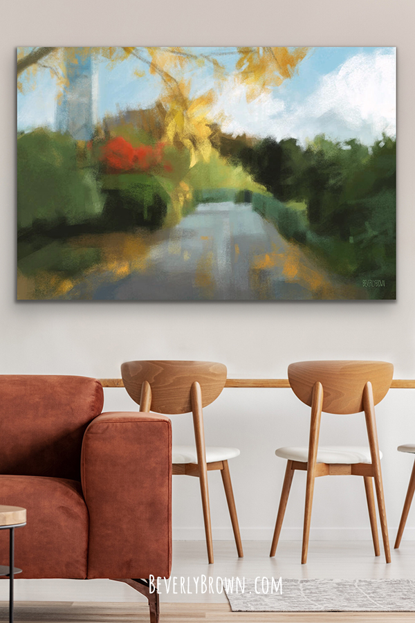 Contemporary dining room with Central Park Conservatory Garden painting print by New York artist, Beverly Brown