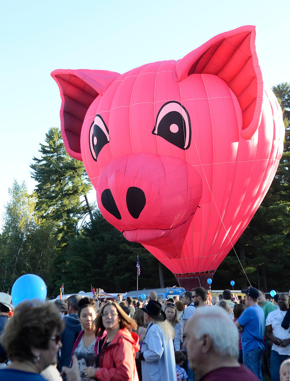 . Balloons, including one shaped like a pig, lift off from Crandall Park in Glens Falls Thursday evening during the opening night of the Adirondack Hot Air Balloon Festival. Photo Ed Burke/SARATOGIAN 9/19/13
