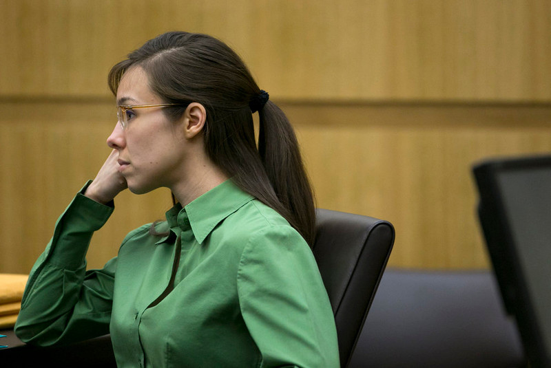 . Defendant Jodi Arias listens as Dr. Janeen DeMarte, an expert witness for the prosecution,  is cross examined during her trial at Maricopa County Superior Court in Phoenix on Wednesday, April 17, 2013.   Arias is on trial for the killing of her boyfriend, Travis Alexander in 2008.  Arias claims self-defense but faces a potential death sentence if convicted of first-degree murder.  (AP Photo/The Arizona Republic, David Wallace, Pool)