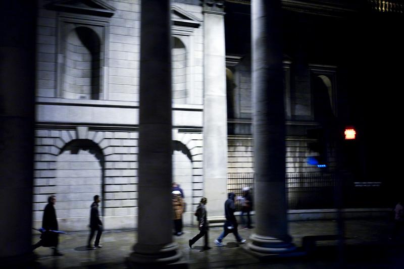 The Bank of Ireland from a bus, Dublin, Ireland