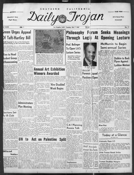 Daily Trojan, Vol. 39, No. 17, October 07, 1947