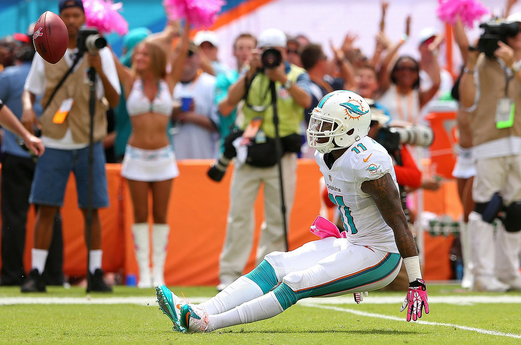 . Mike Wallace #11 of the Miami Dolphins reacts to making a catch against the Baltimore Ravens during a game  at Sun Life Stadium on October 6, 2013 in Miami Gardens, Florida.  (Photo by Mike Ehrmann/Getty Images)