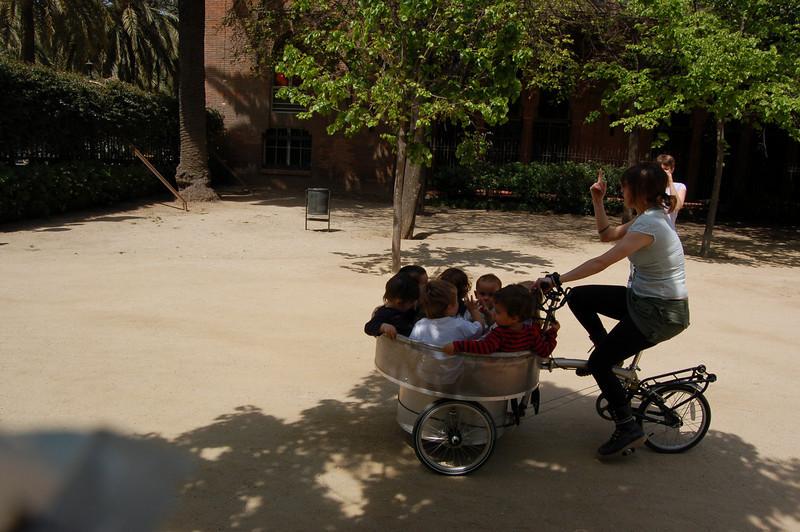 Barcelona - funny to see a bucket 'o kiddies on a bike!!