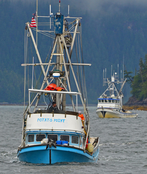 Fishing for salmon, Prince Edward Sound, Valdez, Alaska.