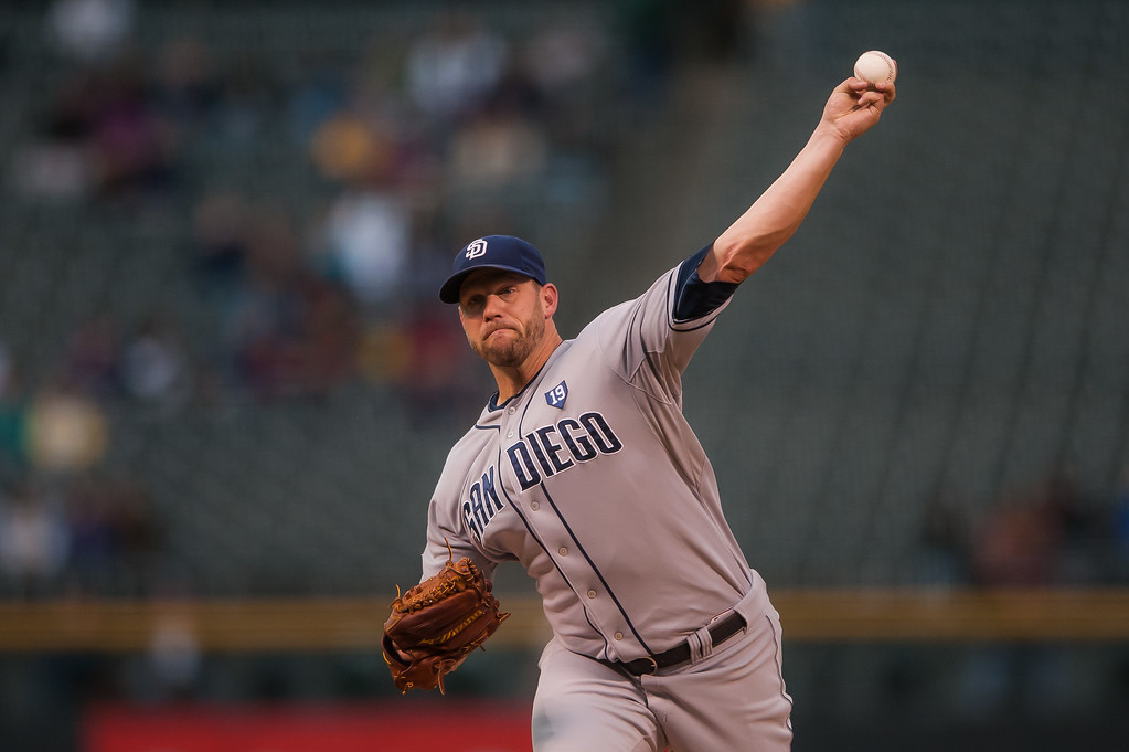 . DENVER, CO - SEPTEMBER 05:  Eric Stults #53 of the San Diego Padres pitches against the Colorado Rockies in the first inning of a game at Coors Field on September 5, 2014 in Denver, Colorado.  (Photo by Dustin Bradford/Getty Images)
