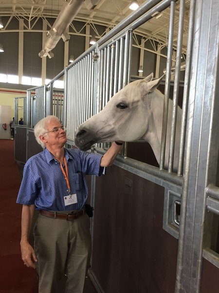 Rick makes a friend at the Doha Racing and Equestrian Club - Bridget St. Clair