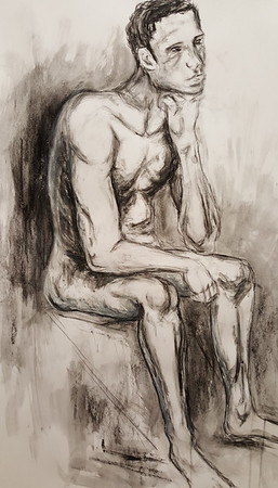 """""""Dramatic Thinker"""" (charcoal & conte on paper) by Marina Ali"""