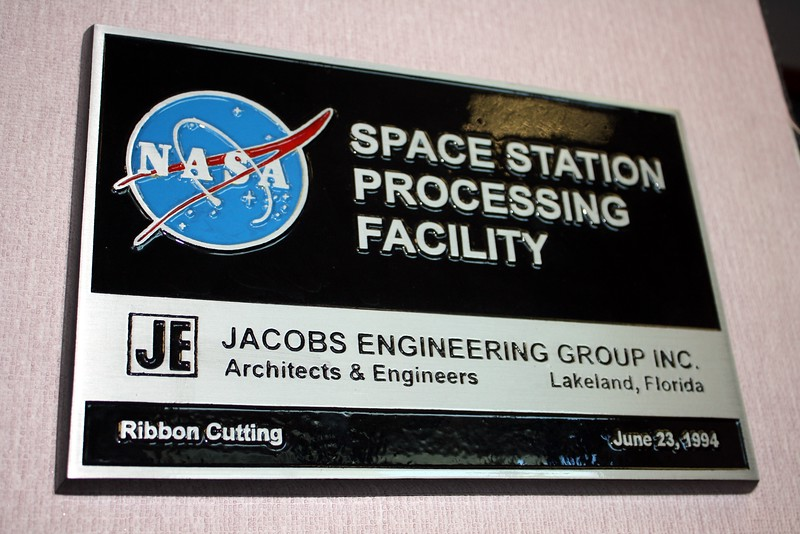 Plaque from the ribbon cutting for the Space Station Processing Facility